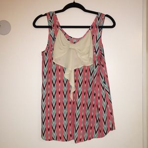 Chevron Top with Bow Accent